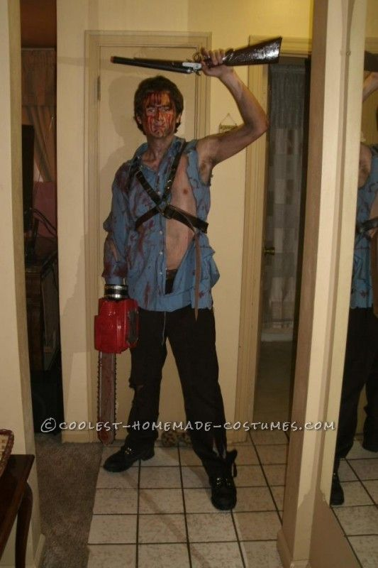 homemade ash williams costume from the evil dead 2 - Superbad Halloween Costumes