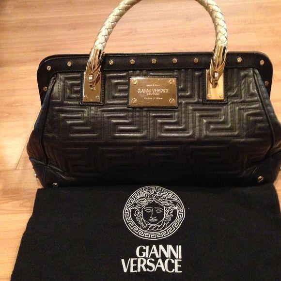 18dd604921f Gianni Versace- Black w  gold braided handle Gianni Versace- Stunning  Satchel handbag, black lamb leather with gold braided handles and gold hard  wear.