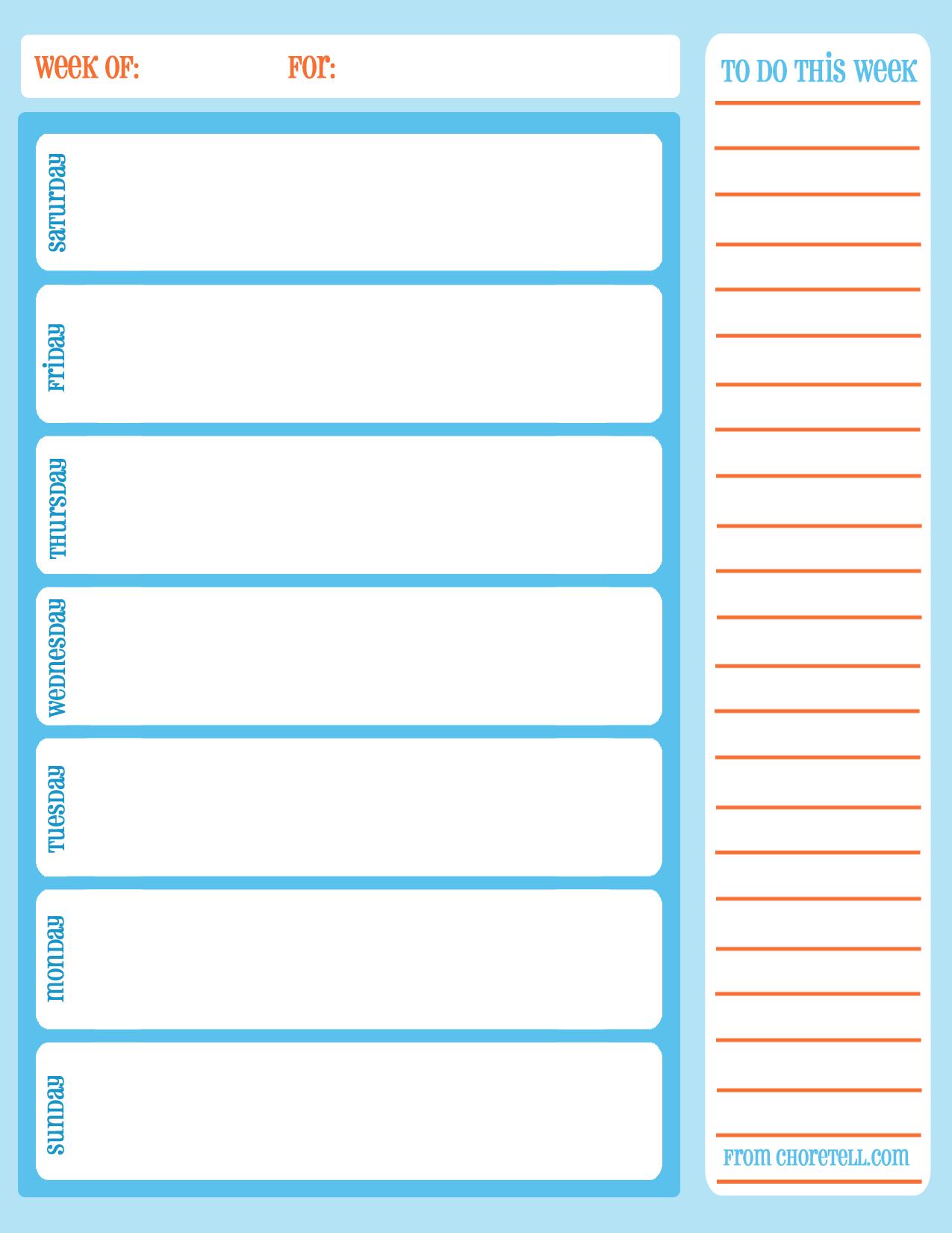 Free Printable Weekly Chore Calendar  Free Printable Downloads
