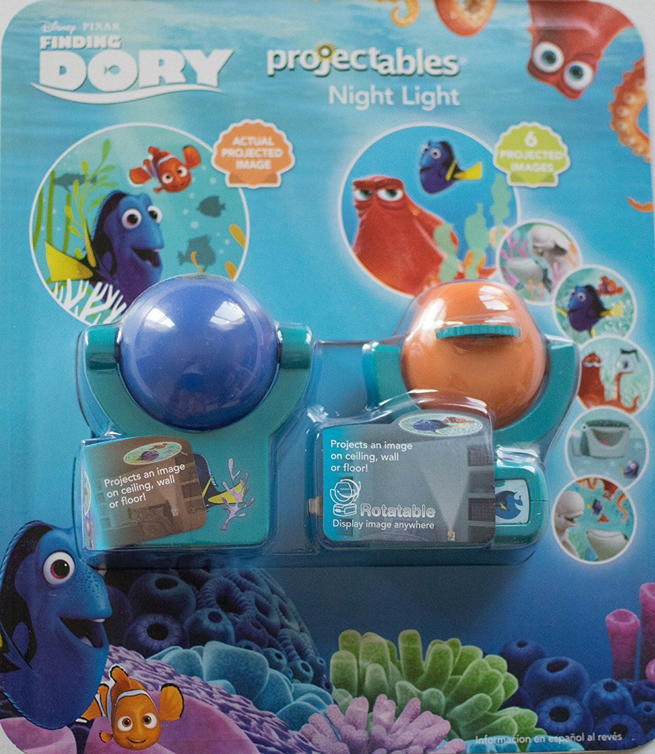 2 Pack Disney Finding Dory Projectables|Rotatable 6-Image Project LED Night Light and One Image LED Night Light, Plug-In, Light Sensing, Dusk-to-Dawn, Project Onto Wall or Ceiling - - AmazonSmile
