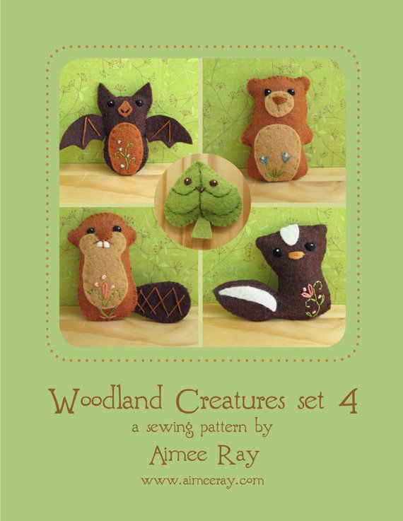 Woodland Creatures set 4 Felt Animals Sewing Pattern, Plush PDF ...