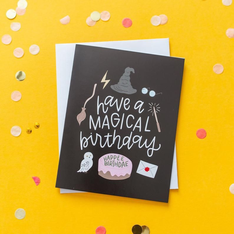 Pack Of 4 Harry Potter Inspired Cards Etsy Harry Potter Birthday Cards Harry Potter Cards Harry Potter Birthday