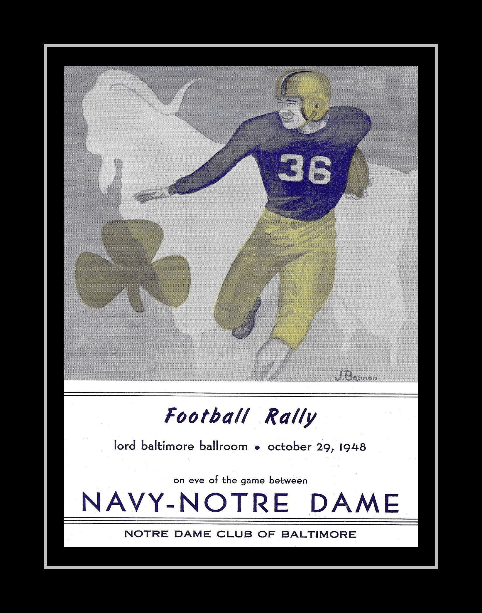 1940s Vintage Notre Dame Navy Football Poster Retro Illustration