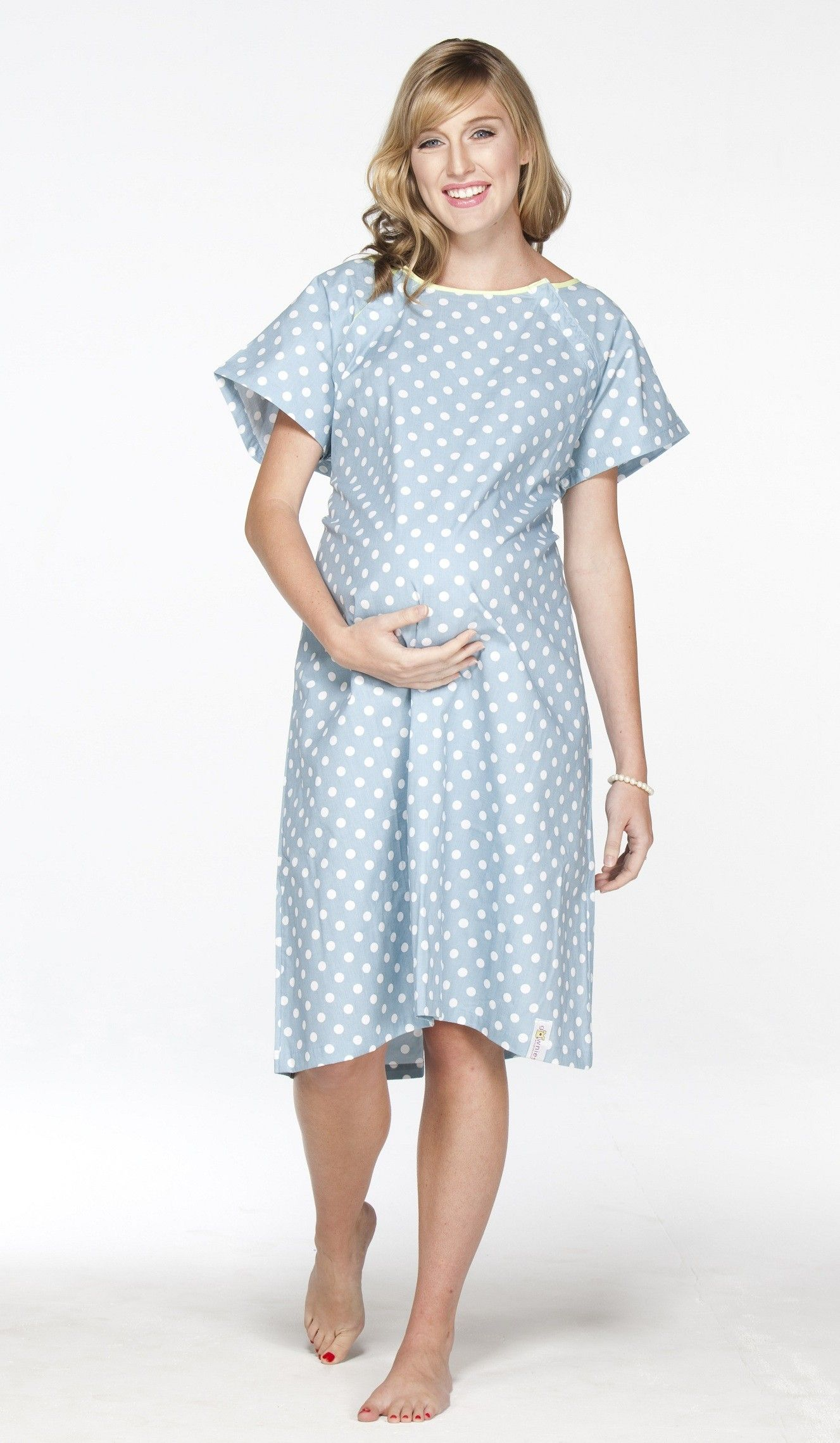 This cute blue polka dot gown is a great gift for the stylish mom-to ...
