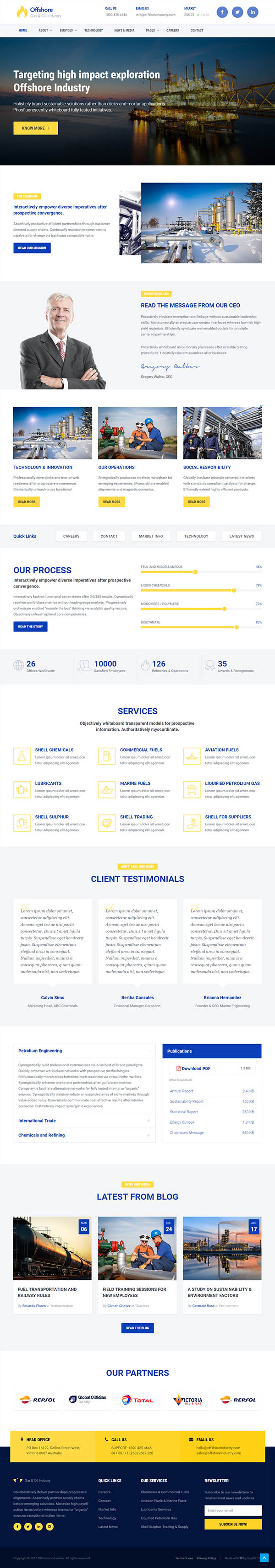 Industrial Website Template Responsive HTML5 — Offshore | free ...