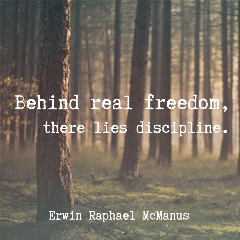 Inspirational Quotes On Freedom: Erwin McManus Inspirational Quote Freedom Discipline