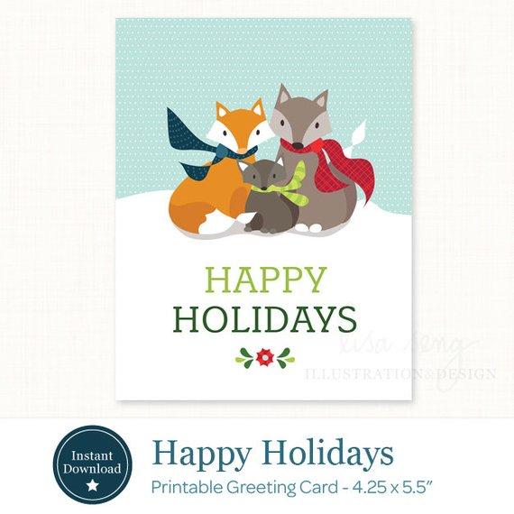 photo relating to Happy Holidays Printable Card named Content Holiday seasons Printable Xmas Card - Printable Holiday vacation