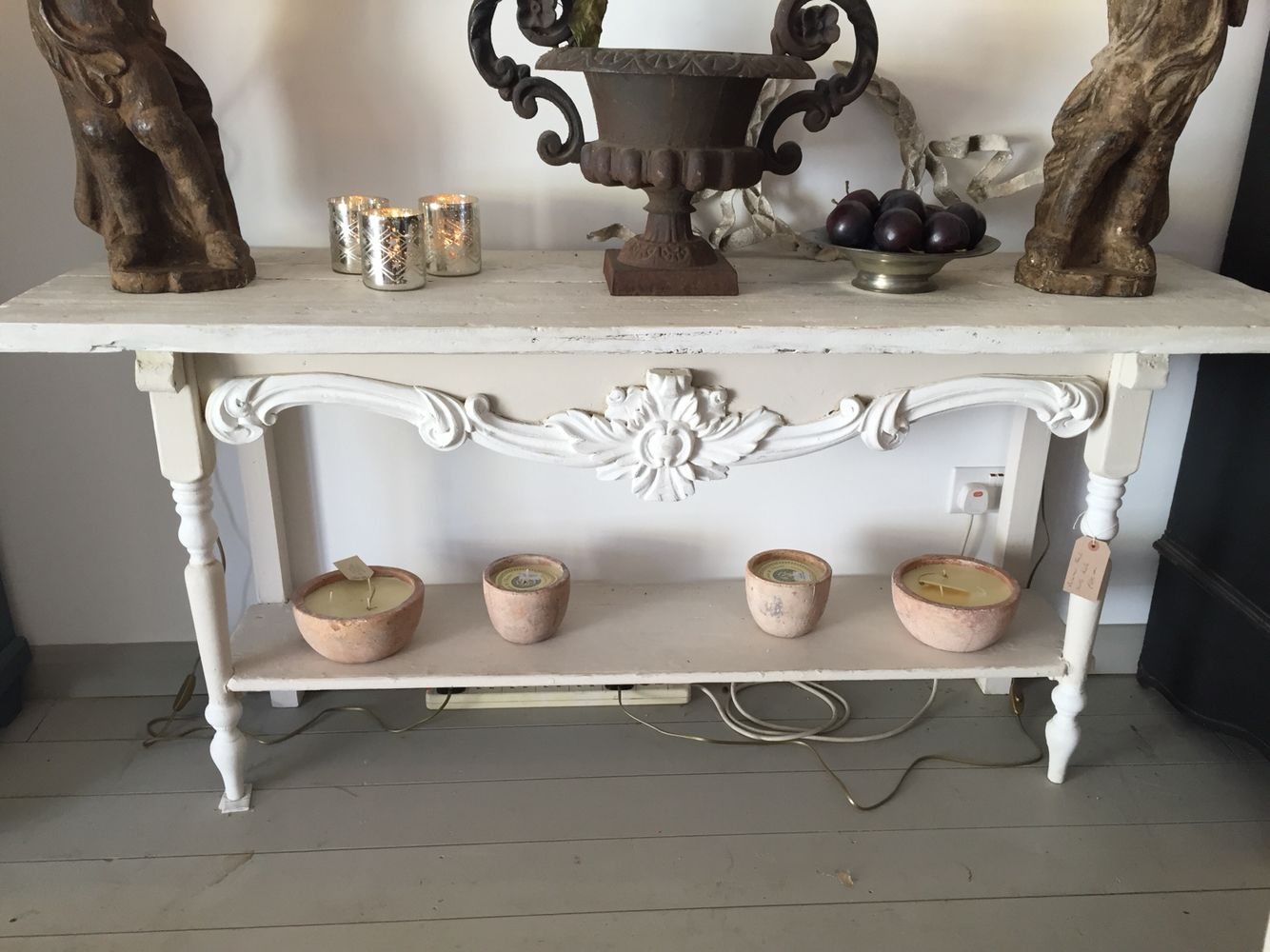 White ornate Console table