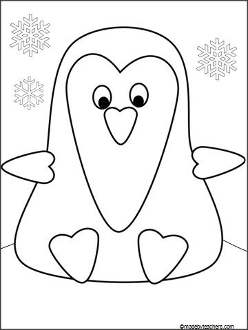 This is an adorable Penguin Coloring page drawn with hearts and - penguin template