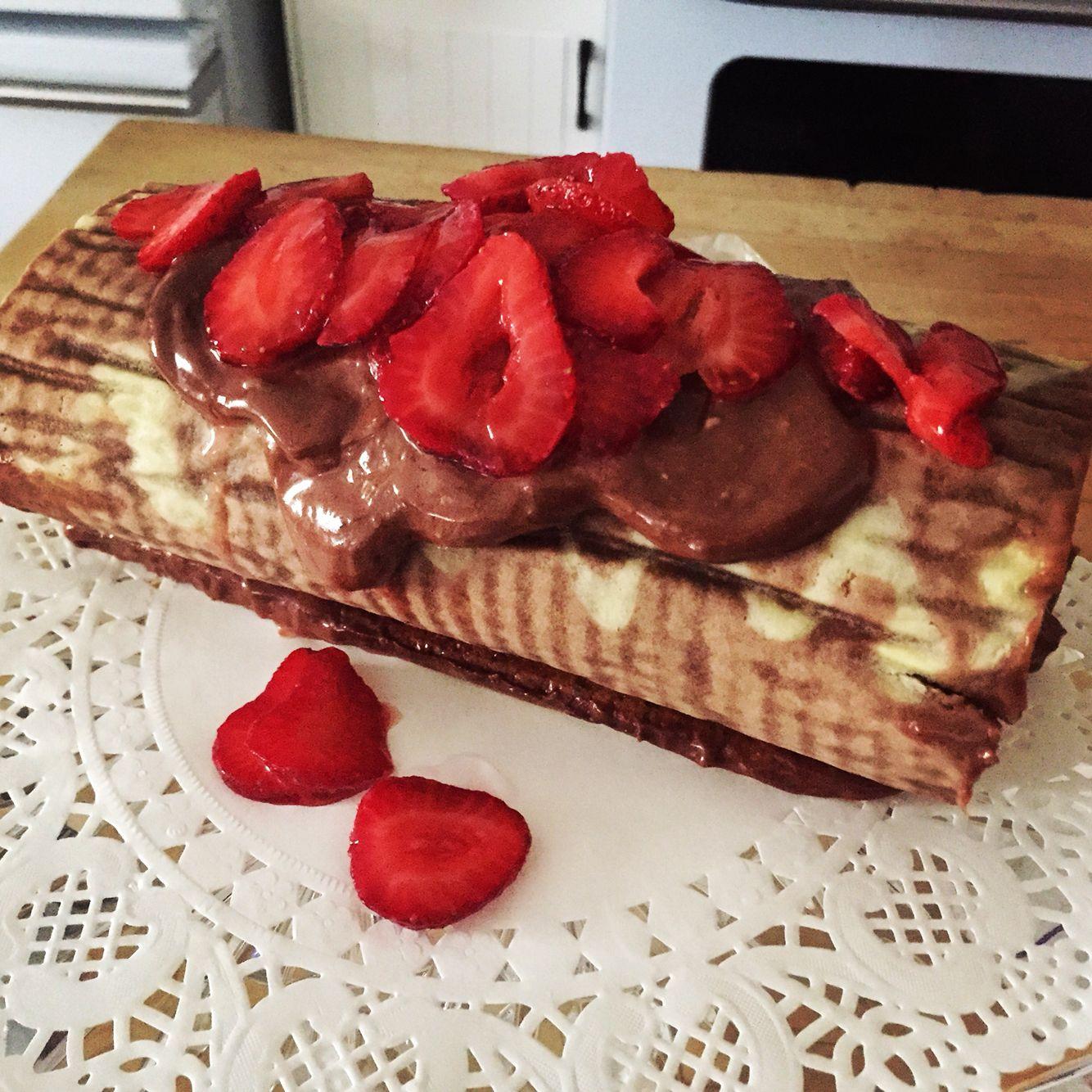 Chocolate strawberry roll cake.