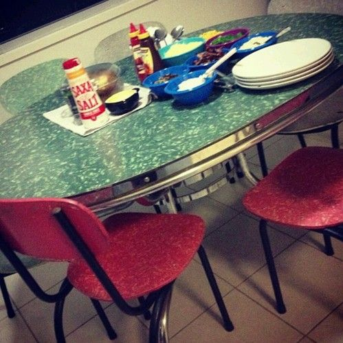 Laminex Table Rockabilly With 6 Chairs Retro Kitsch Vintage In Wide Bay Burnett QLD