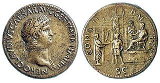 Coin showing Nero distributing charity to a citizen. c. 64–66.