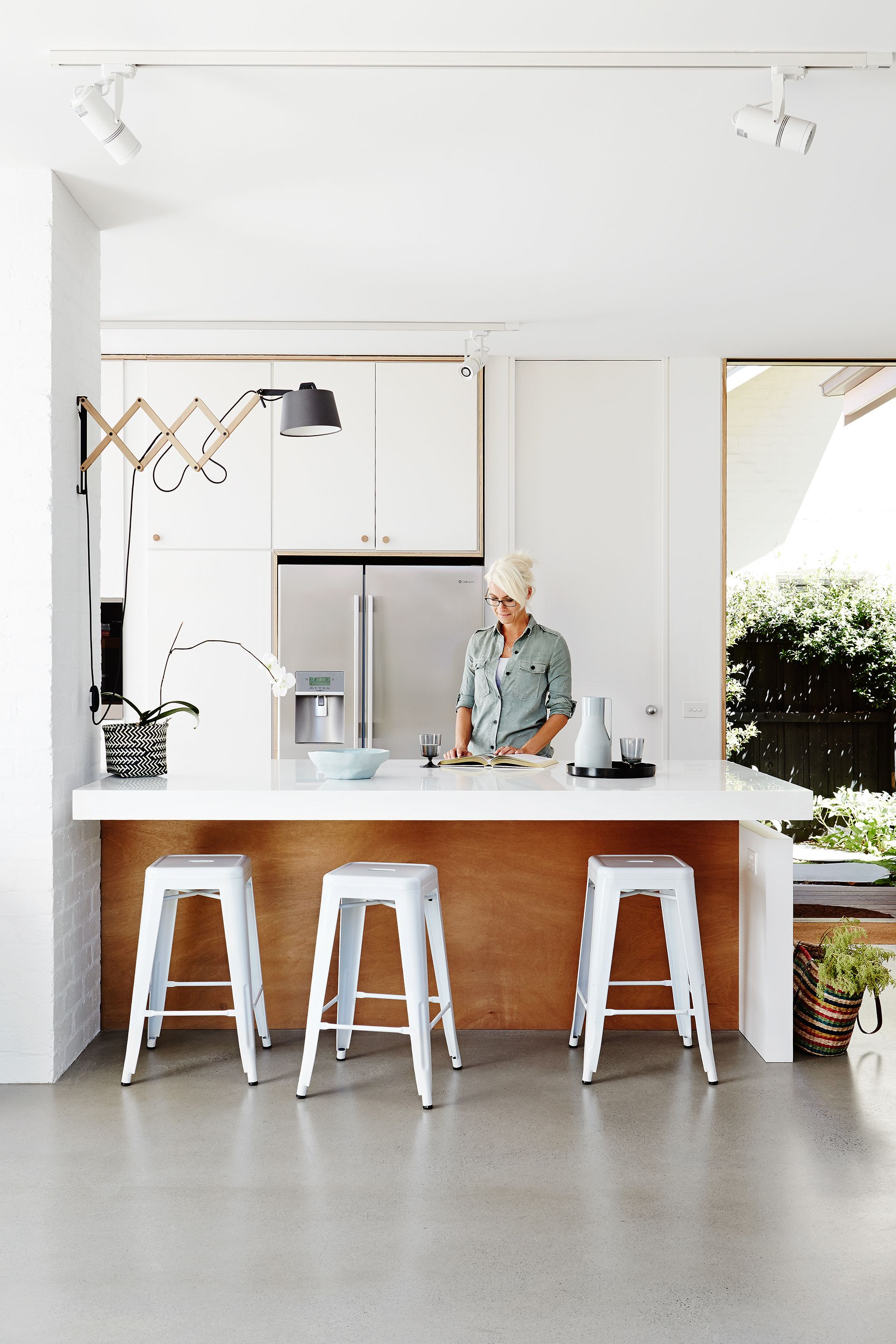 White kitchen from Melbourne bungalow renovation by Architects EAT ...