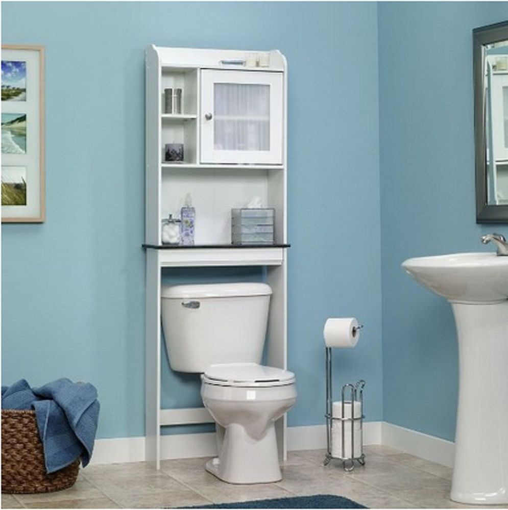 White Bath Cabinet Bathroom Space Saver Shelf Stand Toilet