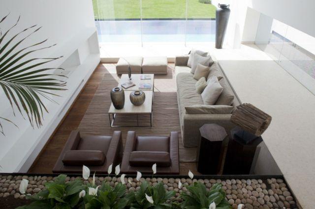 Wohnzimmer Wohnideen beige Sofa Design Sessel Kaffeetisch