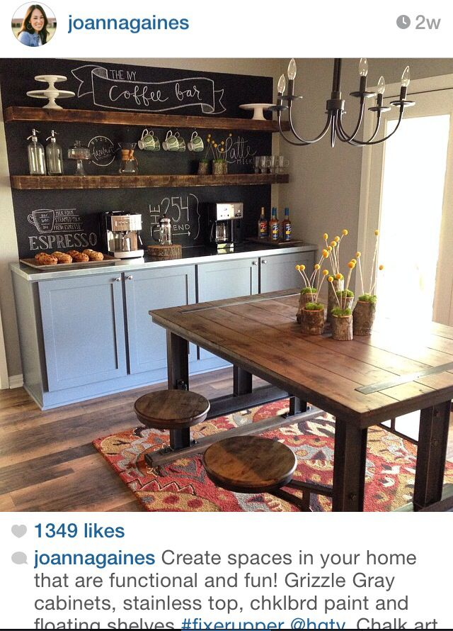 Buffet With Chalkboard Paint And Shelving For A Fun Look In Dining Room Coffee Bar Home Coffee Bar Design Coffee Bars In Kitchen