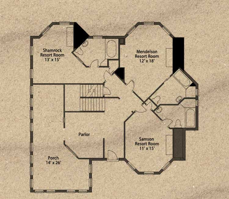 The Guest House floor plan, first floor