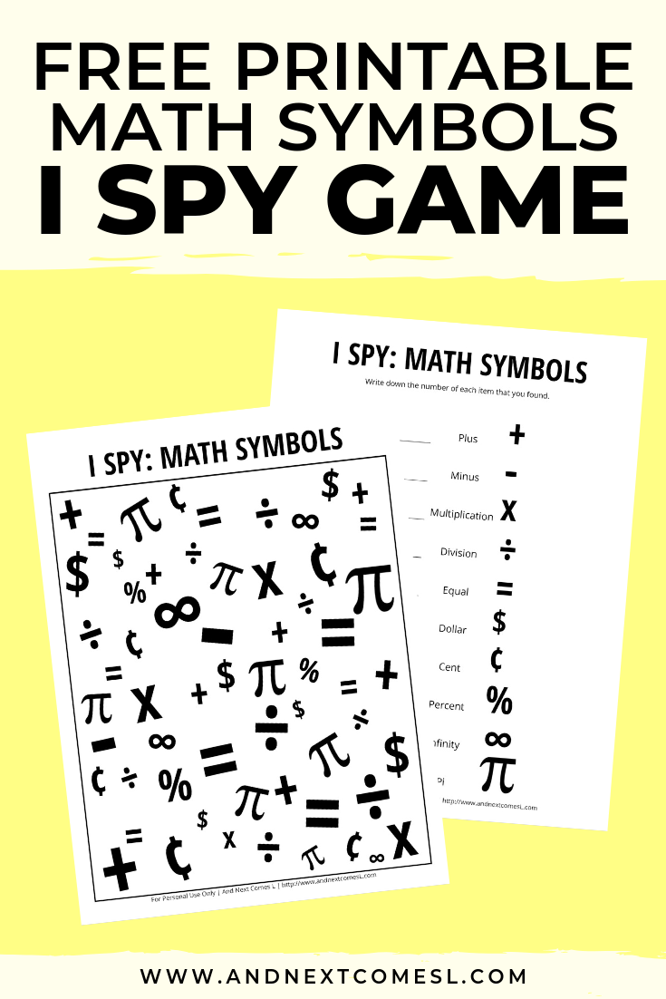Math Themed I Spy Game {Free Printable for Kids} in 2020