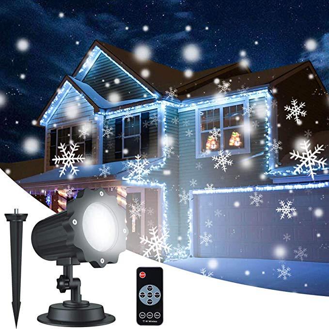Amazon Com Christmas Snowflake Projector Lights Aloveco Rotating Led Snowfall Projection La Outdoor Christmas Projector Christmas Projector Light Decorations