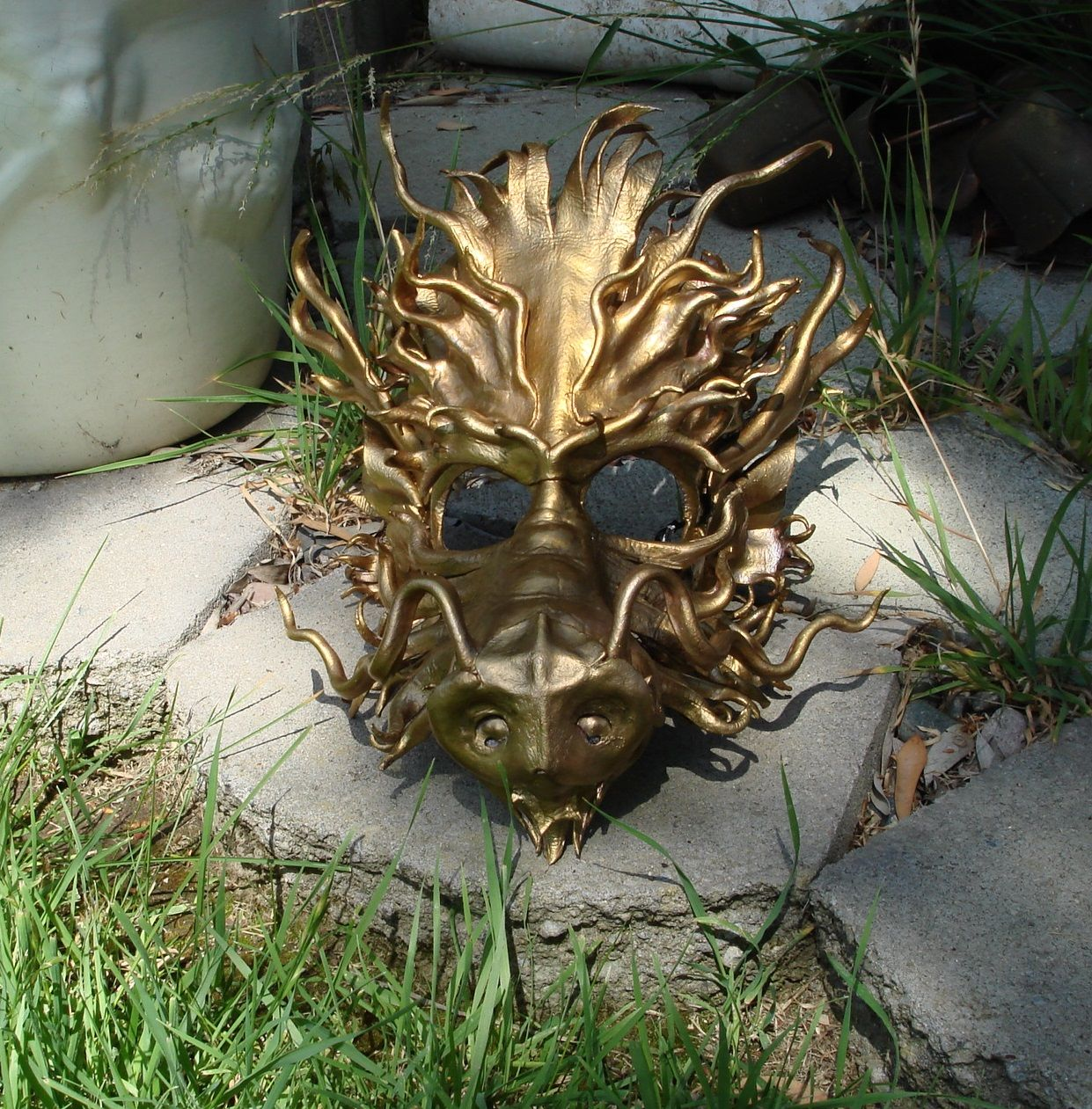 Leather Temple Dragon Mask in Gold