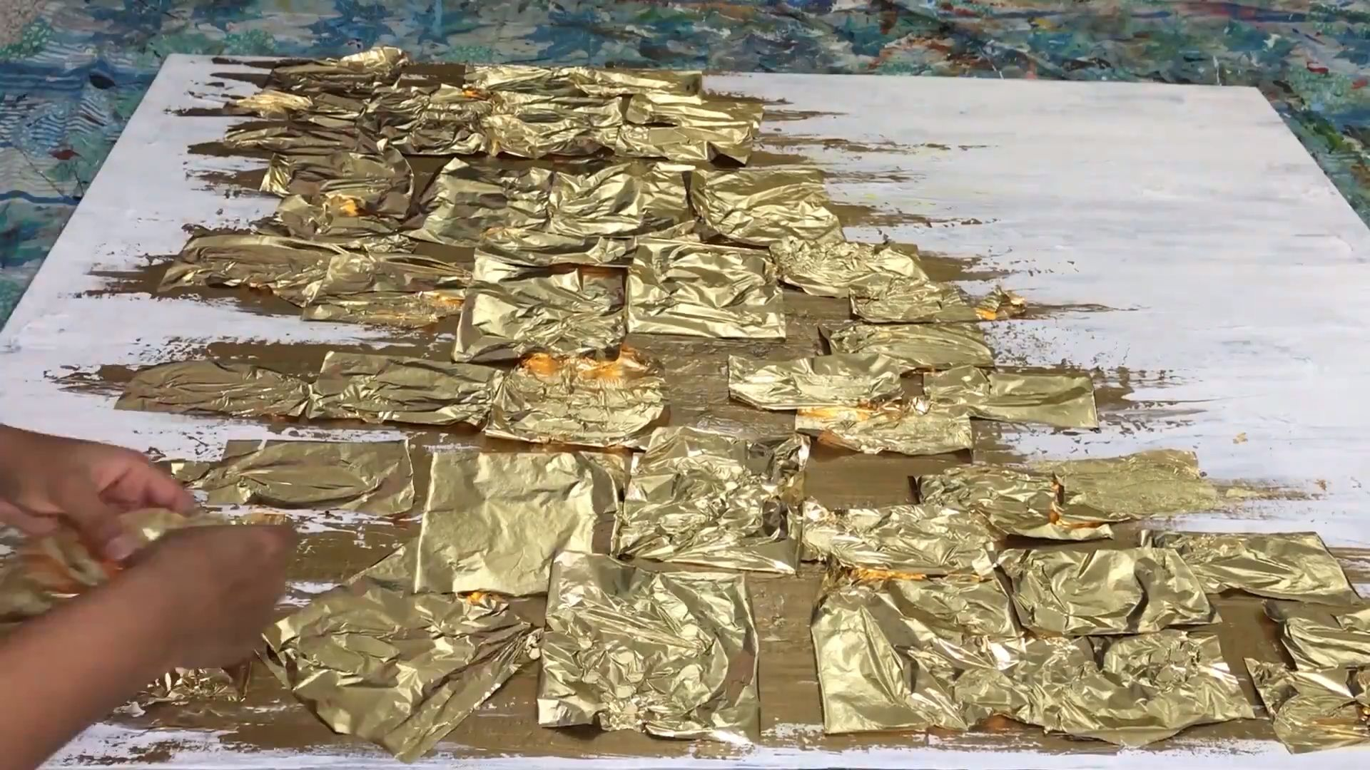 Photo of Art video- Abstract Gold leaf painting, thick paint, palette knife art, painting tutorial