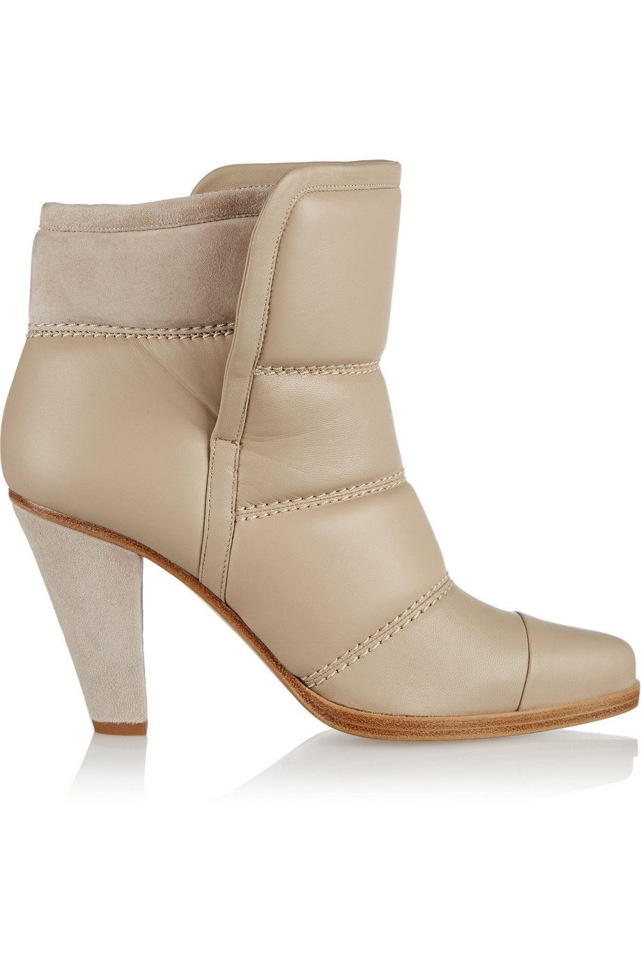 Chloé | Padded leather and suede ankle boots