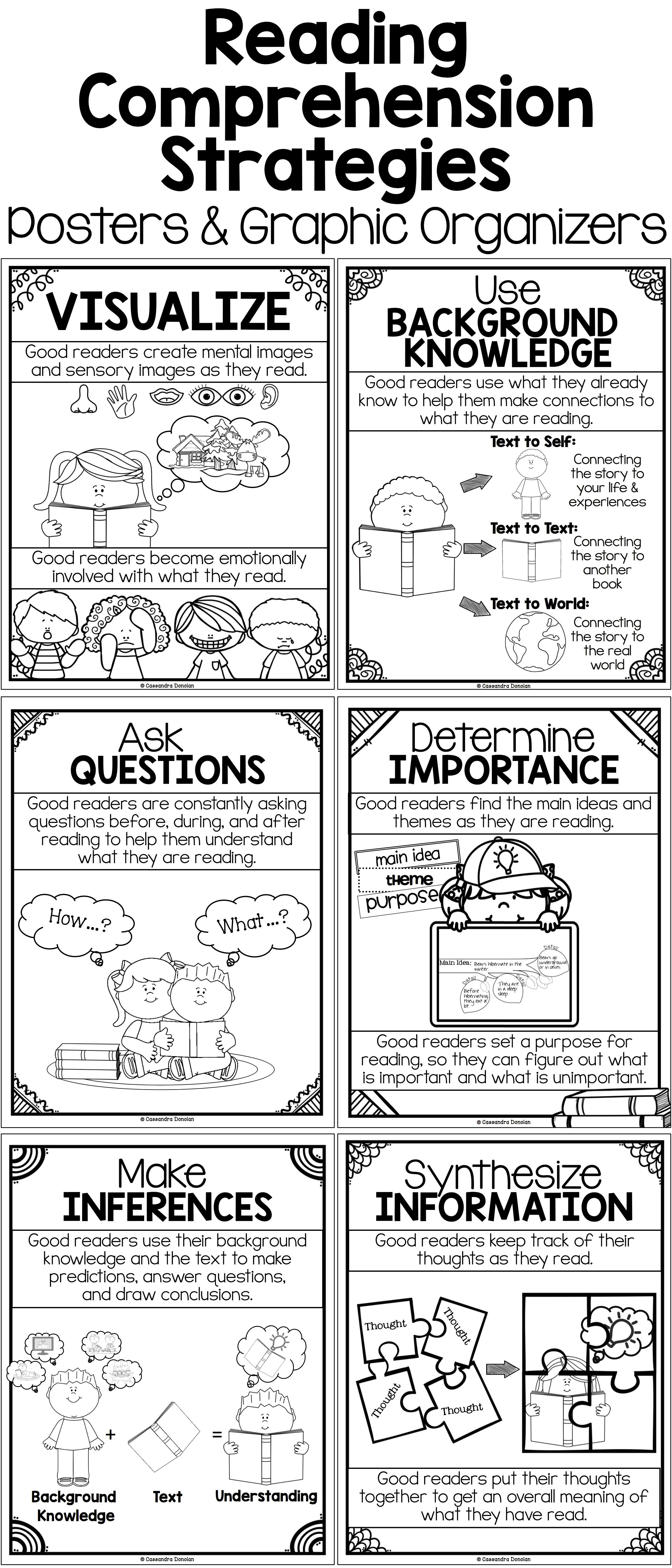 Research Based Reading Comprehension Strategies Posters B W Or Reading Comprehension Strategies Posters Reading Comprehension Comprehension Strategy Posters