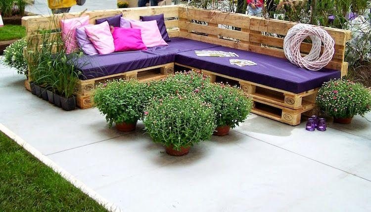 Fabriquer salon de jardin en palette de bois u2013 35 idées créatives et - salon d angle de jardin