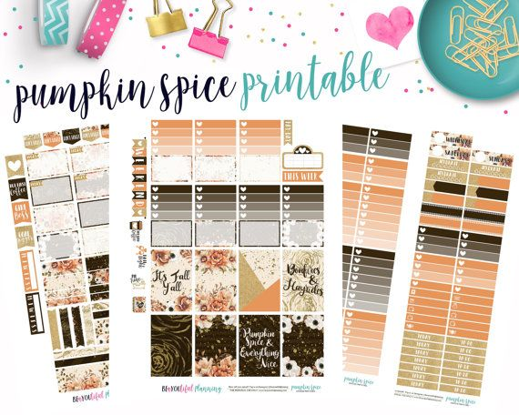 Pumpkin spice weekly kit happy planner printable planner stickers cut