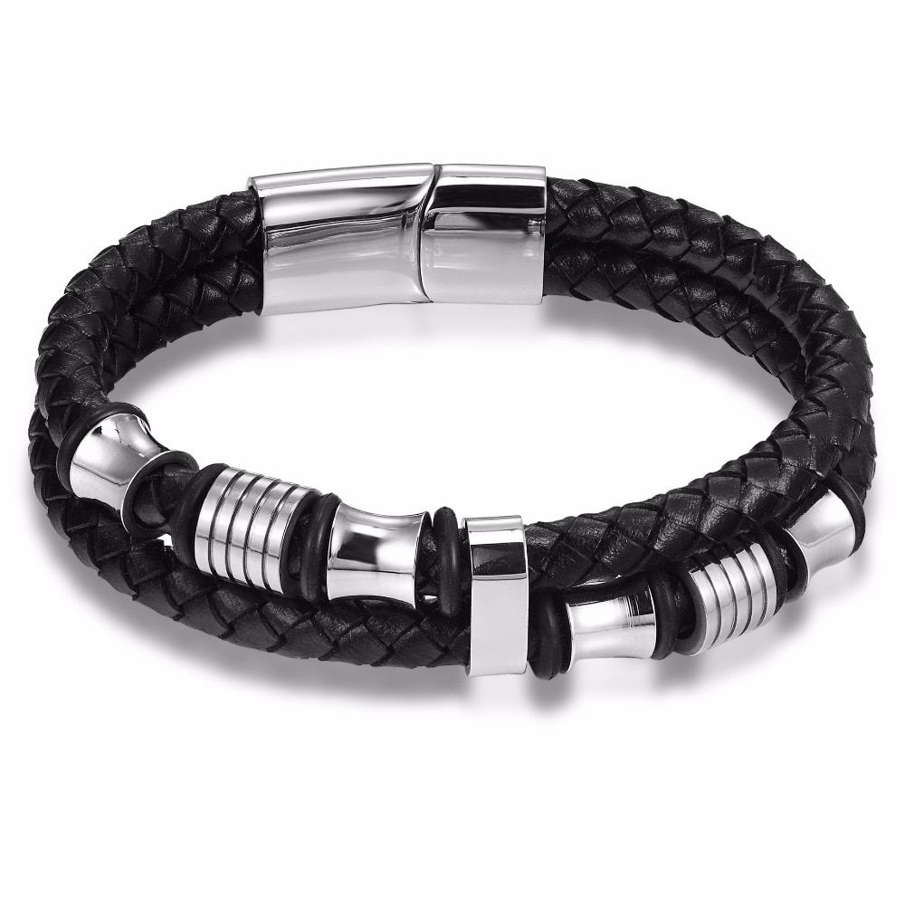 Men Punk Stainless Steel Leather Braided Double Layer Bracelet Wristband Bangle