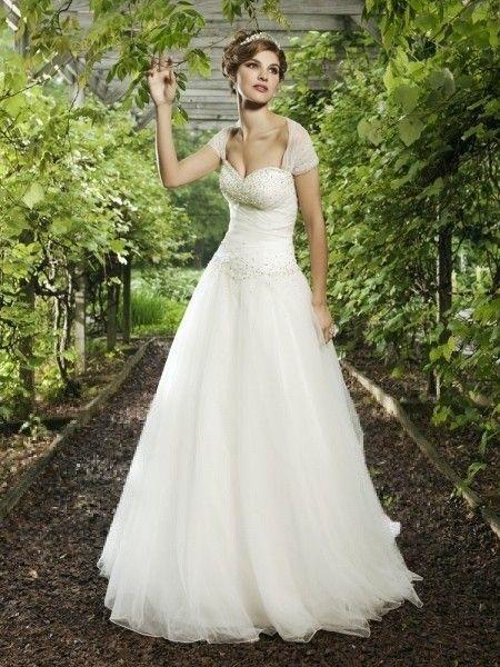 A-line/Princess Hjärtformad Bärlbroderi Court Släp Tyll Wedding Dresses