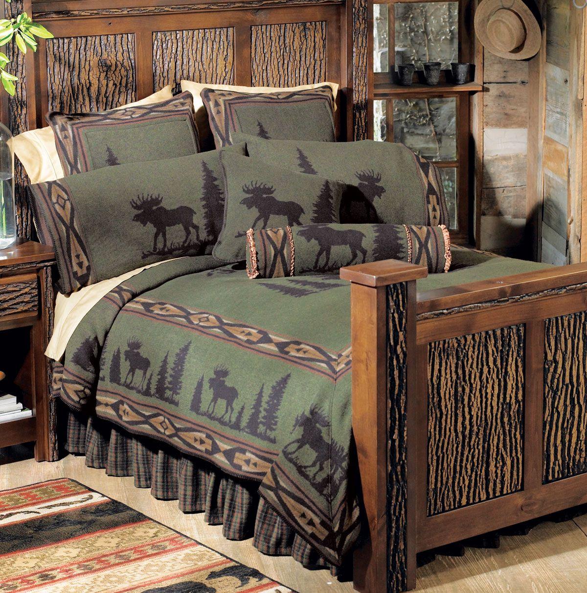 Moose I Bedspread Queen In 2020 Rustic Bedding Western