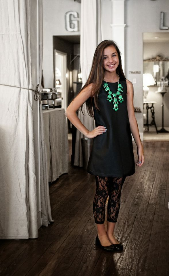 37449e53ec323 a grown up, sophisticated look for you teen accessorized with the perfect  statement necklace and lace leggings