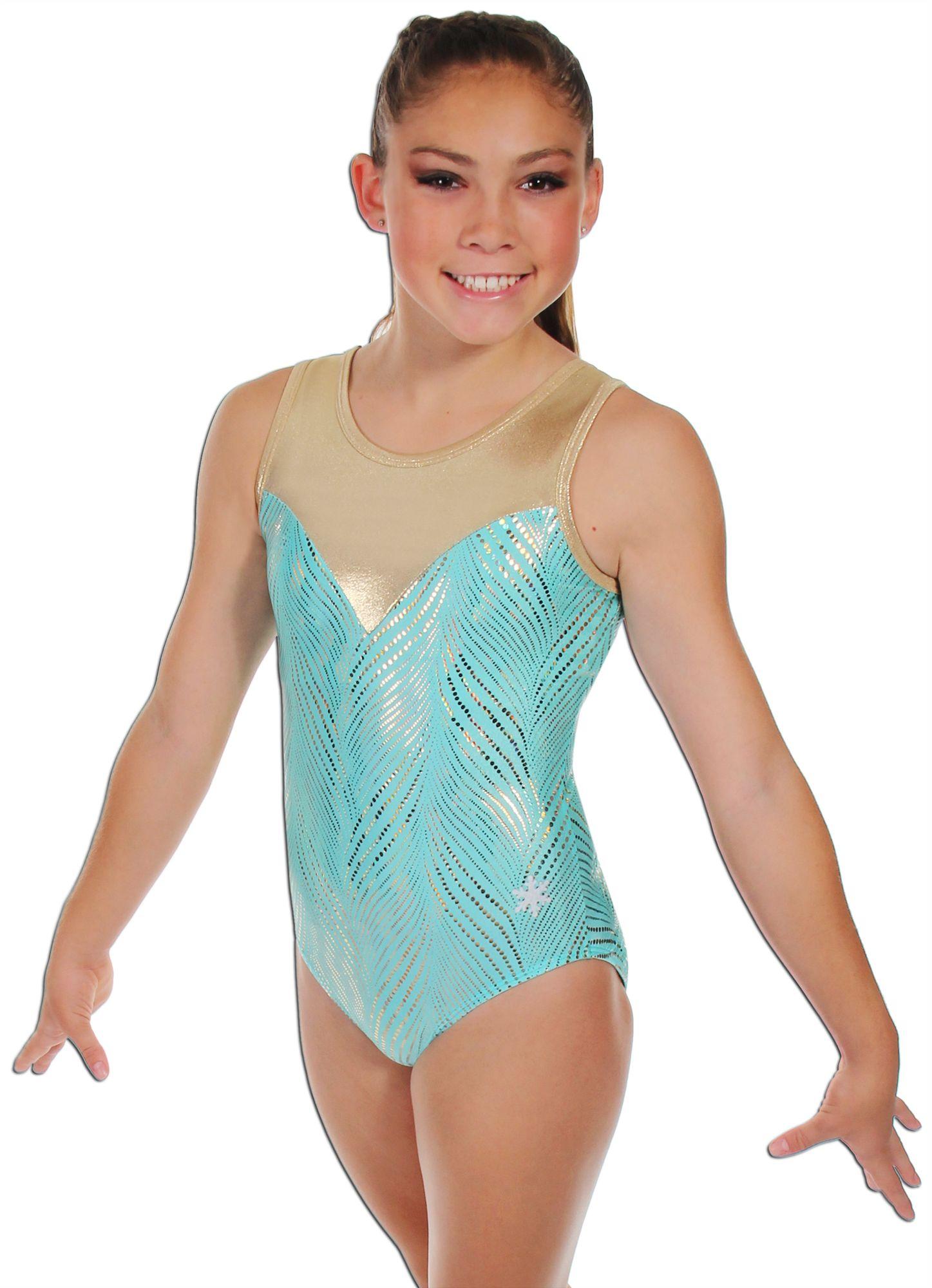 Girls Turquoise Swirl metallic sleeveless leotard ALL SIZES dance gymnastics