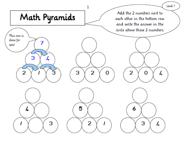 maths pyramids for mental maths practice  hands on math  math  maths pyramids for mental maths practice  practical pages