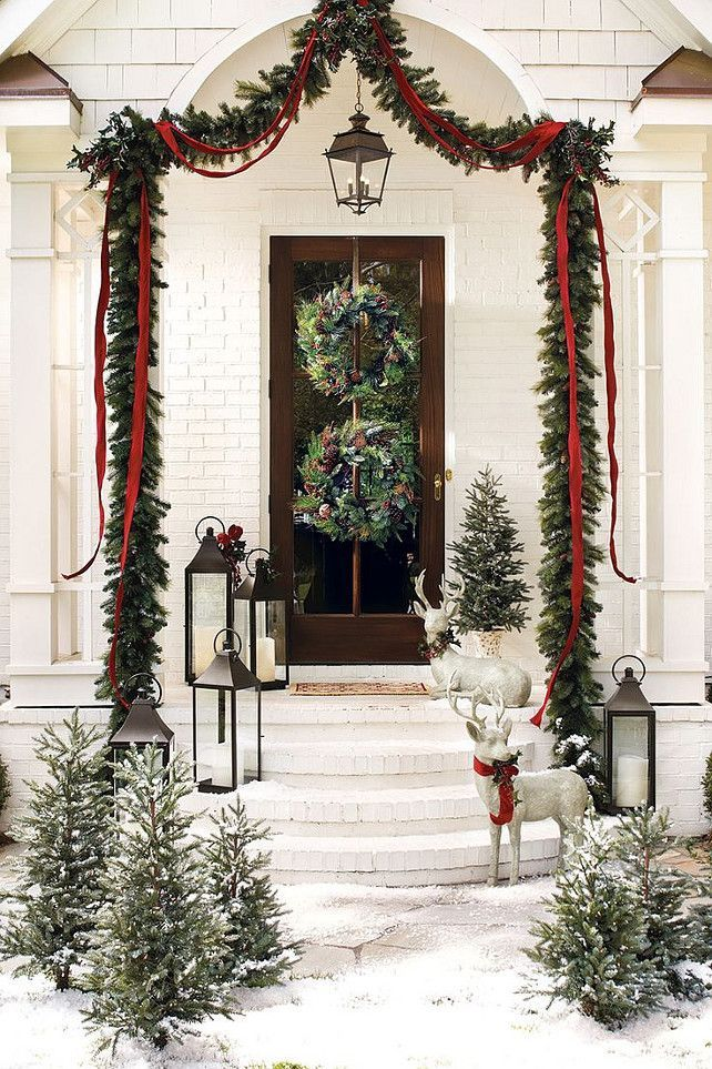 christmas front door - How To Decorate Front Porch For Christmas