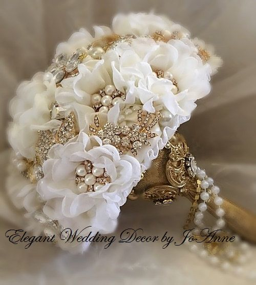 White And Gold Wedding Flowers: GATSBY Themed Brooch Bouquet Off White And By