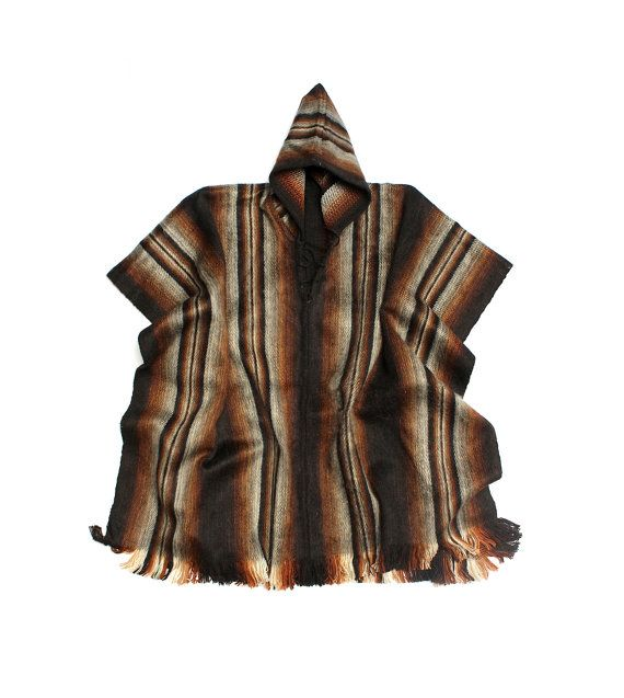 SALE 15% OFF* Men's Alpaca Llama Wool Hooded Poncho Light and Warm in Natural Colors with Ethnic Andean Designs CG6vU