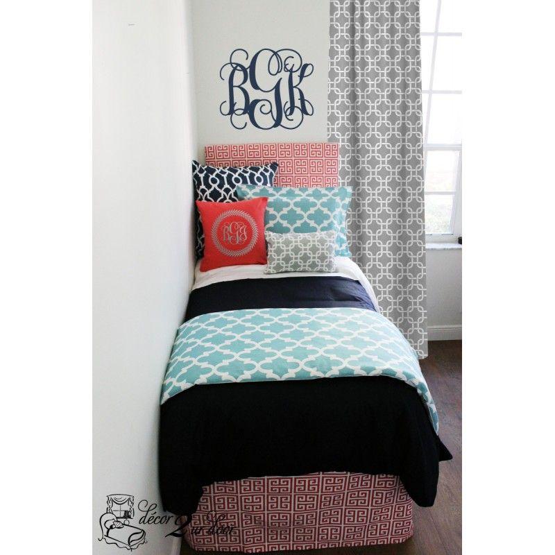 Navy And Coral Bedding Part - 26: Dorm Bedding Trends Coral And Navy Dorm Room Bedding Navy, Coral, Aqua U0026  Grey