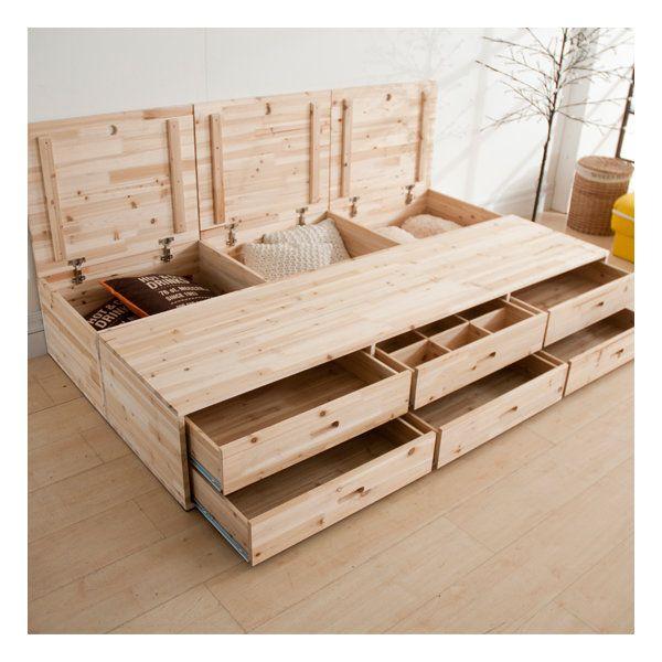 보스코수납침대 삼나무원목침대 평상침대 슈퍼 퀸침대 Wood And Steel 가구 싱글 침대 및 침대