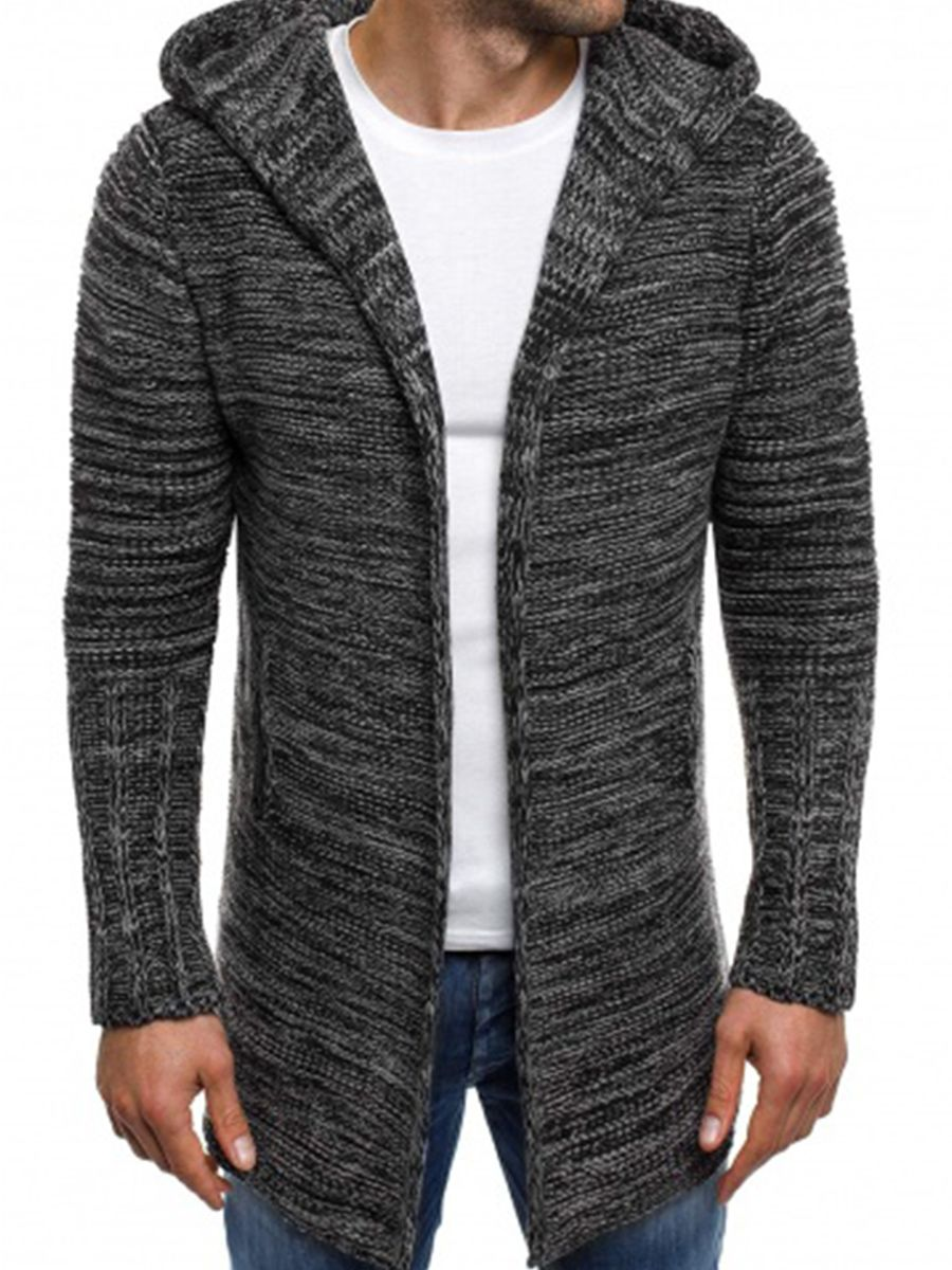 Hooded Solid Color Midi-Length Slim Men's Trench Coat. Men CardiganCardigan  SweatersCardigansTrench ...