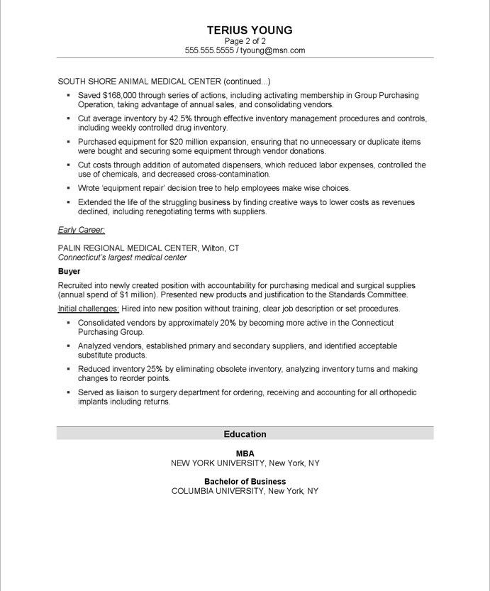 Purchasing Manager-Page2 Business Resume Samples Pinterest