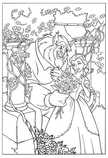 disney coloring full pages | Disney's Beauty and the Beast Colouring Sheets | Princess ...