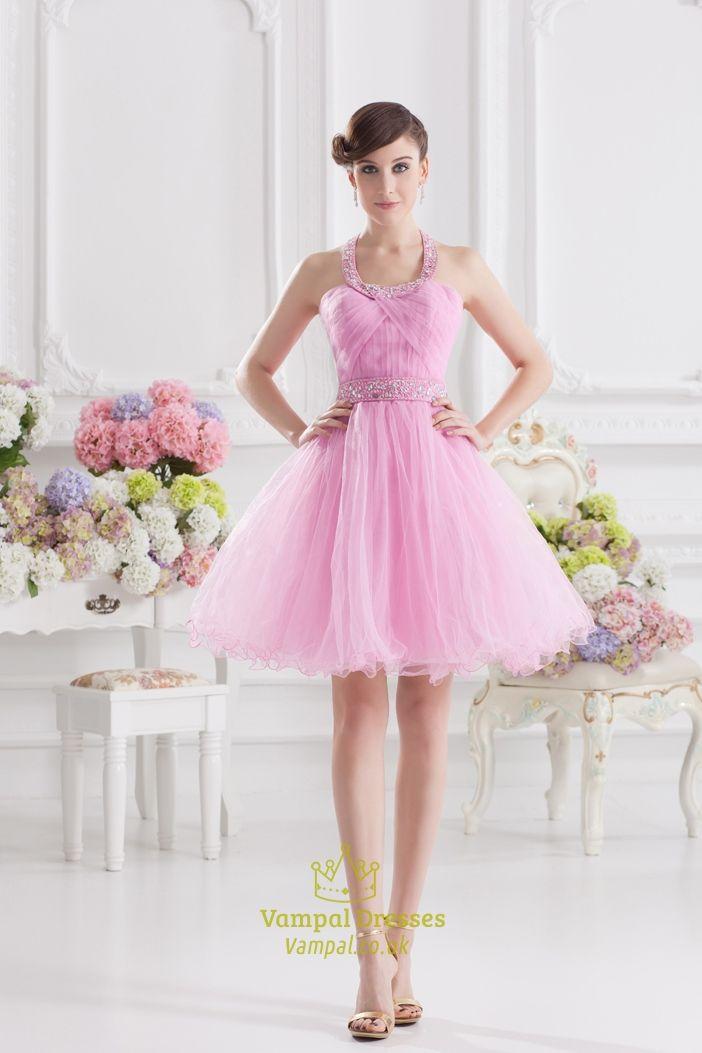 Short Pink Fluffy Prom Dress,Pink Halter Neck Top Dress | Pink ...