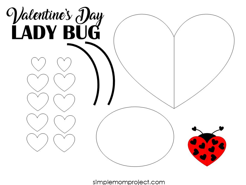 Free Printable Heart Shaped Ladybug Craft Valentine Art Projects Easy Valentine Crafts Ladybug Crafts