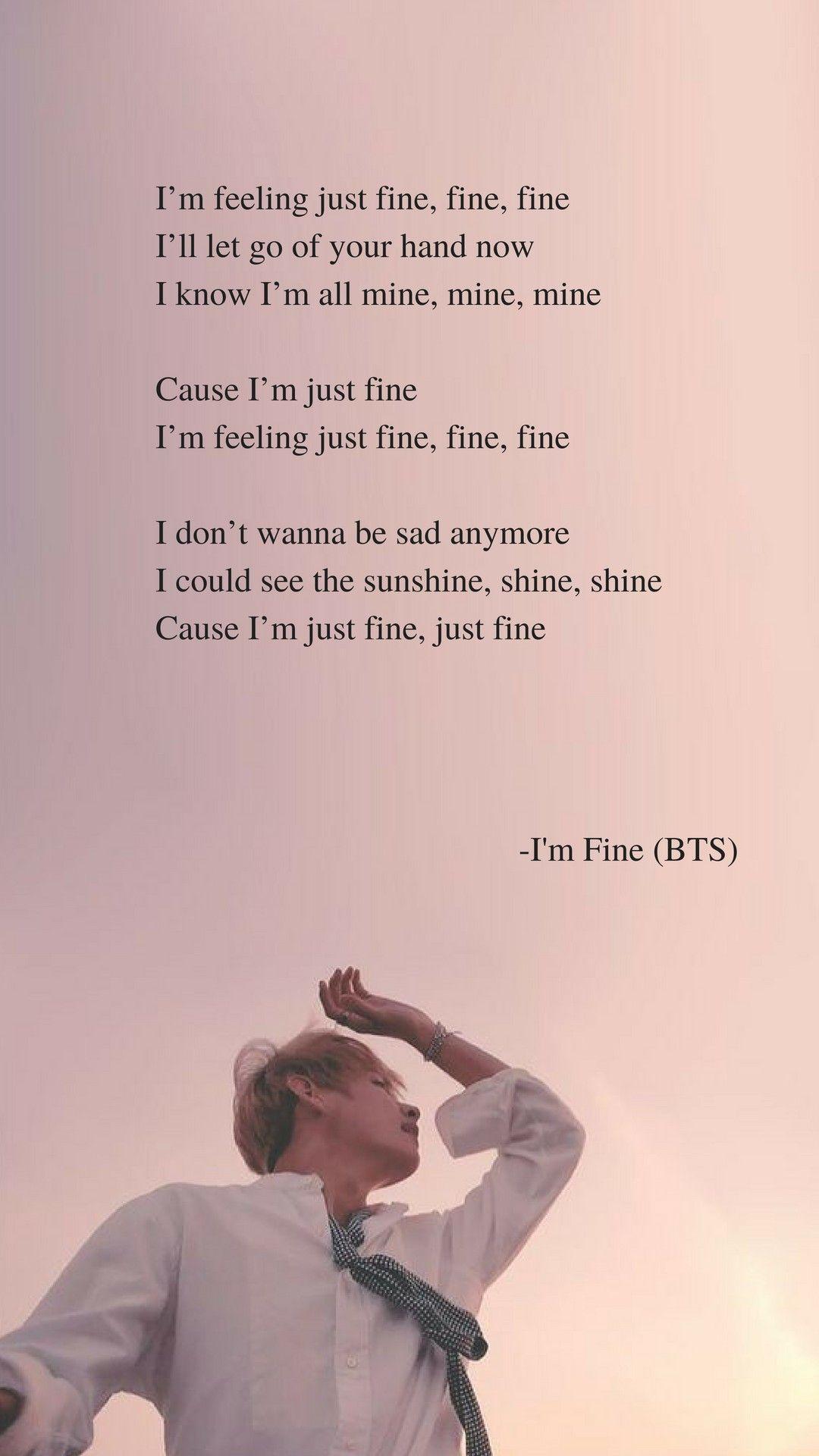 I'm Fine by BTS Lyrics wallpaper