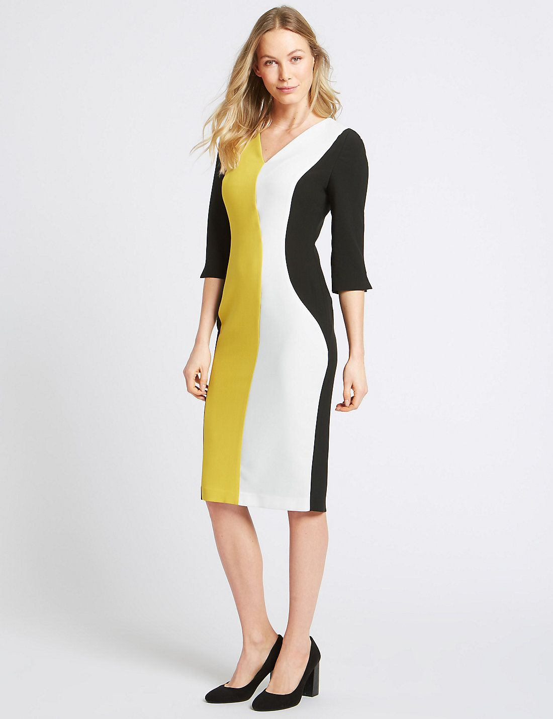 Cheap Real Manchester Online Marks & Spencer Colour Block 3/4 Sleeve Bodycon Dress - - 6 Buy Cheap Pick A Best K6VurO