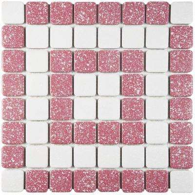 Crystalline Market Square Flamingo 11 3 4 In X 11 3 4 In X 5 Mm Porcelain Mosaic Tile Porcelain Mosaic Mosaic Tiles Mosaic Flooring