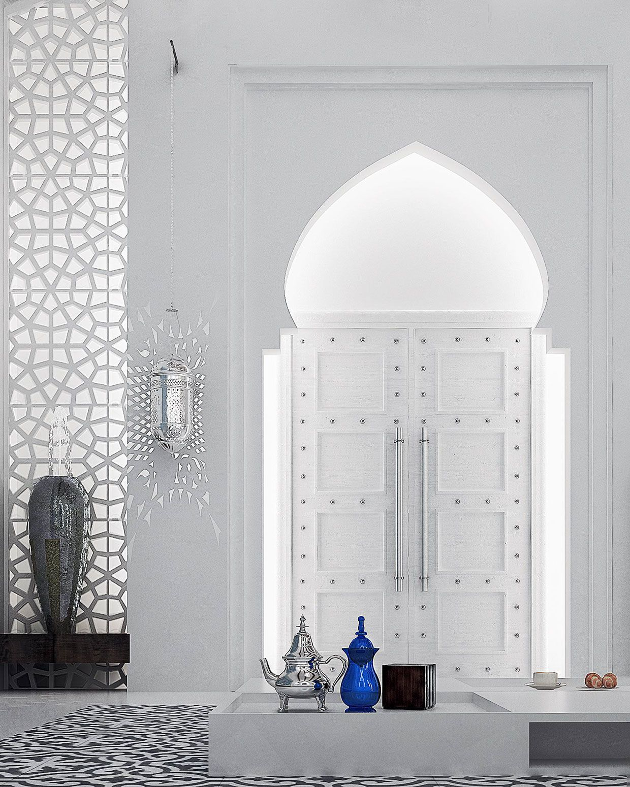 The horseshoe arches are extremely common in moroccan design and are characterized by a large round arch atop a straighter narrower doorway or in this