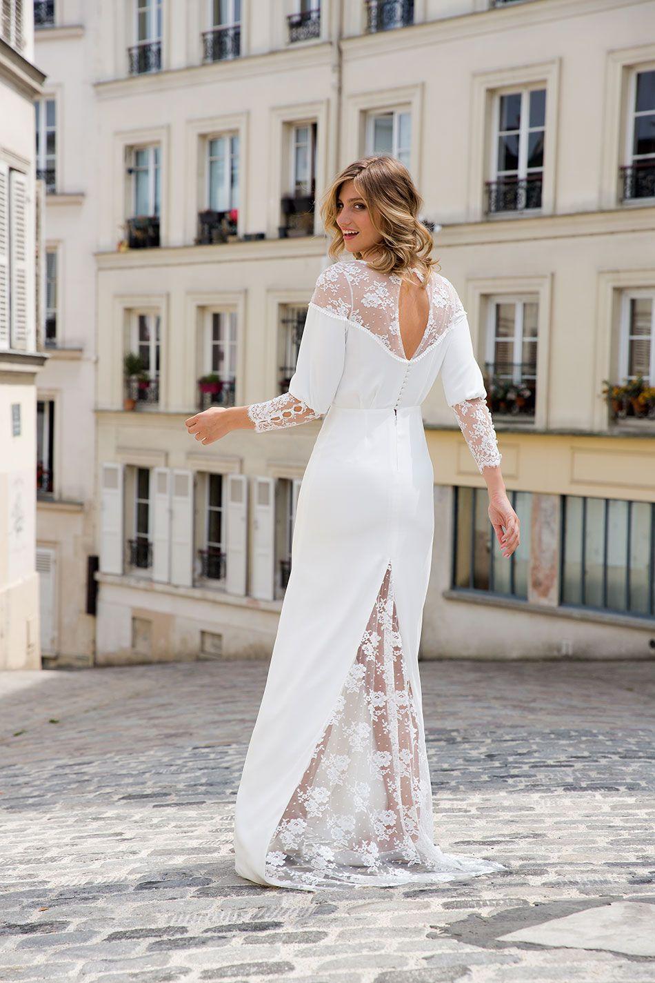 Lace wedding dress ivory january 2019 Dans les baskets de lamariée  Marie LaporteCollection